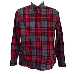 J. Crew 100% cotton red plaid button-down shirt M